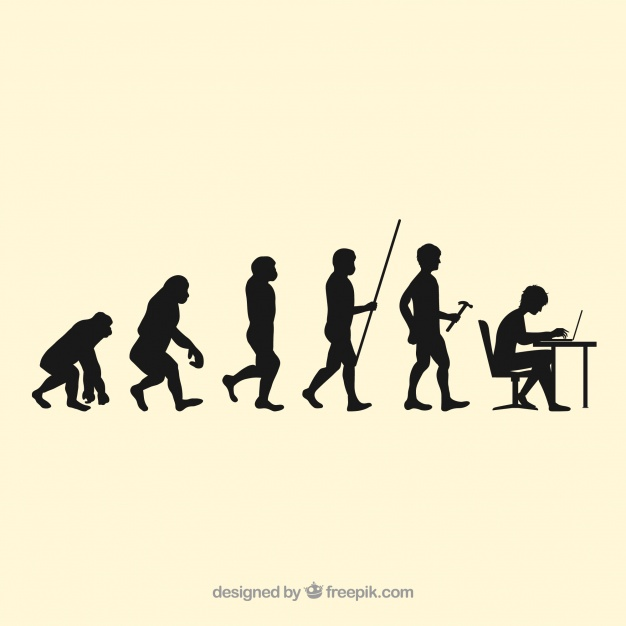 626x626 Human Workers Evolution Silhouettes Vector Free Download