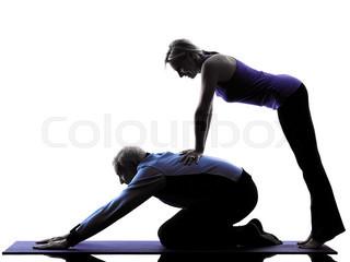 320x240 One Caucasian Couple Senior Fitness Exercises Silhouette