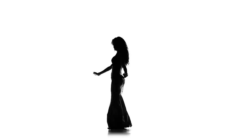 852x480 Talanted Exotic Belly Dancer Woman Continue Dance, On Black, Slow