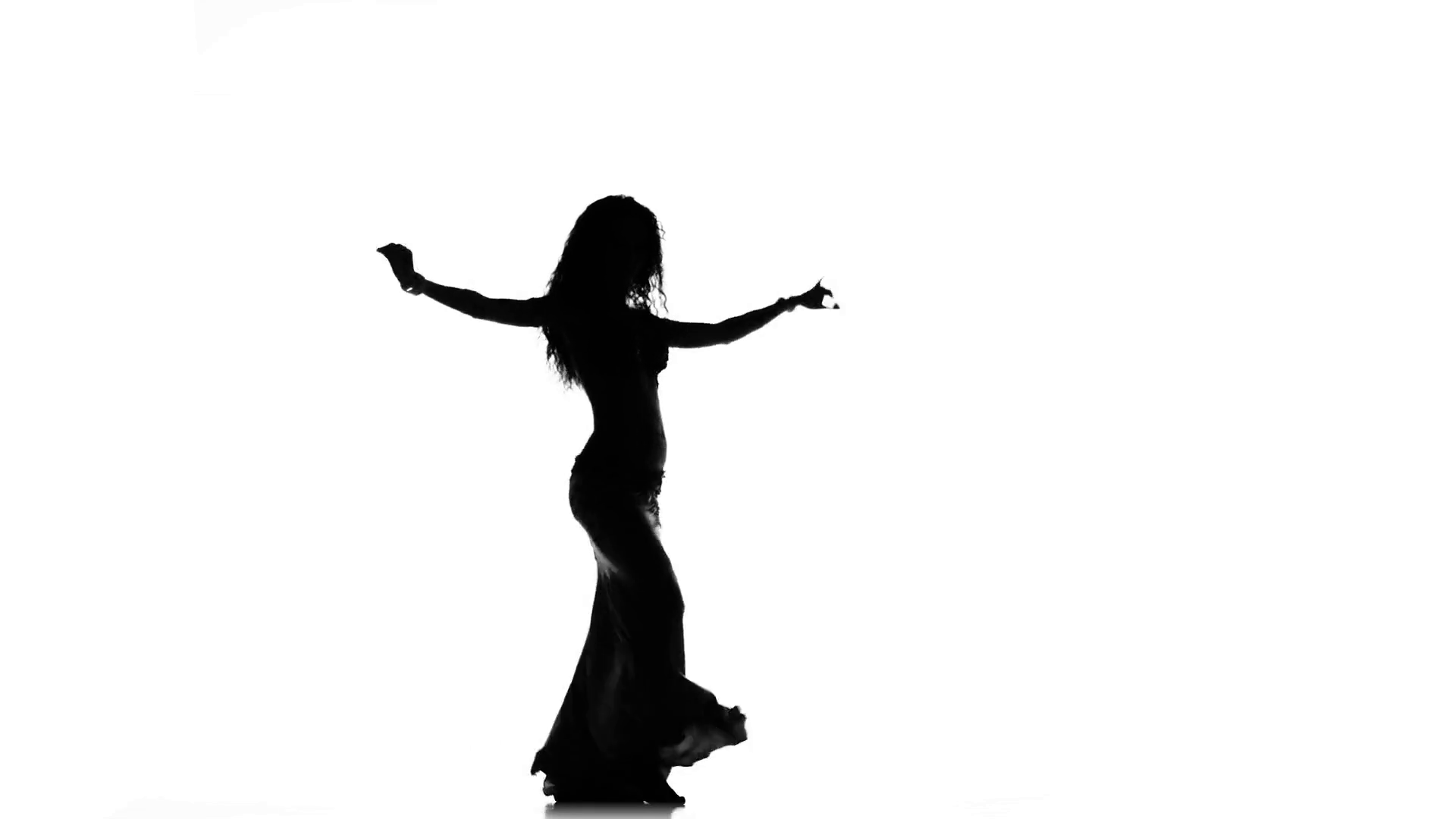 1920x1080 Exotic Belly Dancer Woman Starts Dance On White, Silhouette Stock