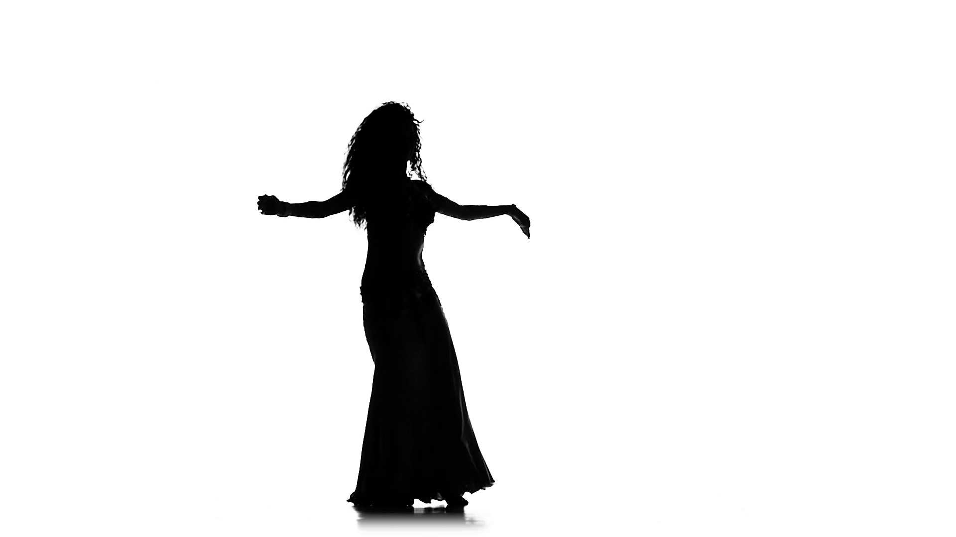 1920x1080 Talanted Exotic Belly Dancer, Wave Her Hair, Whirl, On White, Slow