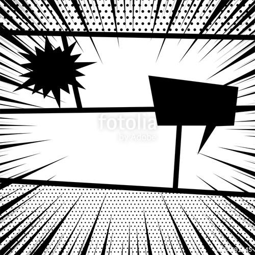 500x500 Comics Book Monochrome Template Background. Pop Art Black White