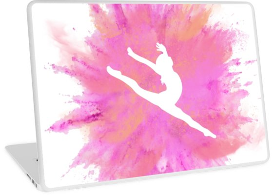 558x400 Pink Explosion Gymnastics Silhouette Laptop Skins By