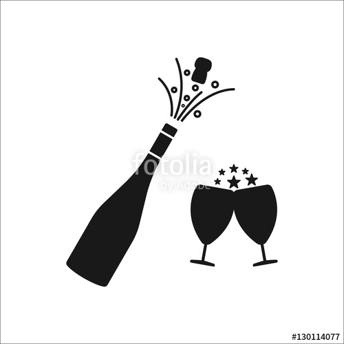 500x500 Champagne Bottle Explosion With Cheering Glasses Symbol Silhouette