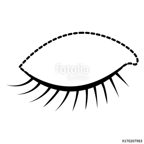 500x500 Eye Closed Female Closeup Dotted Silhouette On White Background