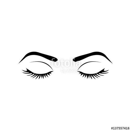 500x500 Monochrome Silhouette With Female Eyes Closed And Eyebrow Vector