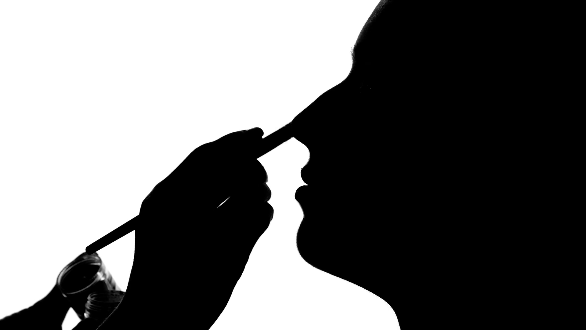 1920x1080 Eye Makeup Woman Applying Eyeshadow Powder, Close Up, Silhouette