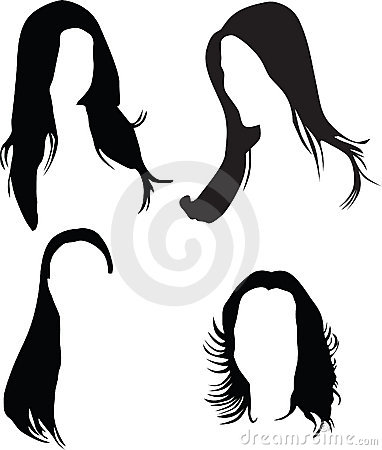 382x450 Long Hair Clipart Silhouette