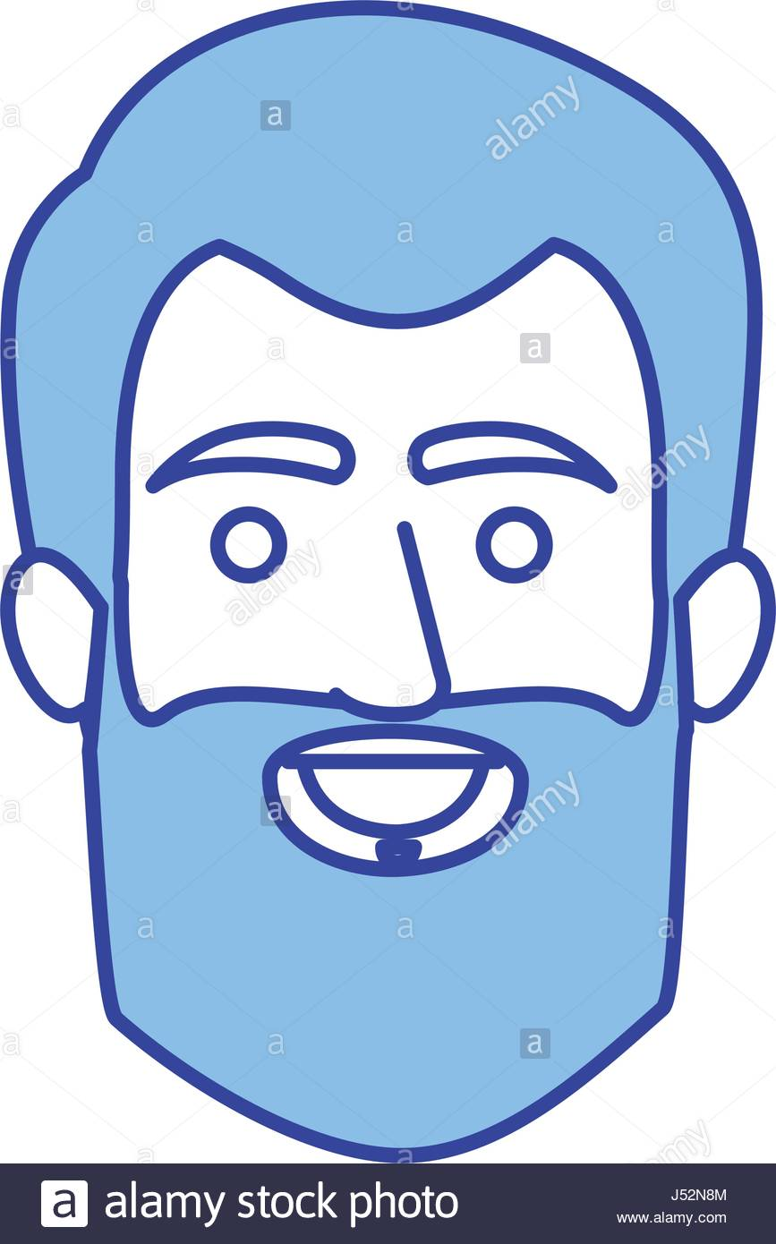 867x1390 Blue Silhouette Of Male Face With Short Hair And Beard Stock