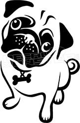 162x248 Pug Puppy Eyes Silhouette 1 Decal Sticker