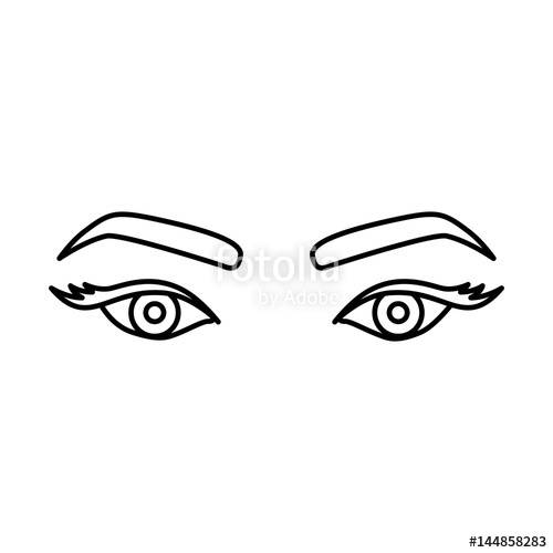 500x500 Silhouette Drawing Of Woman's Look With Eyes Expressive Vector