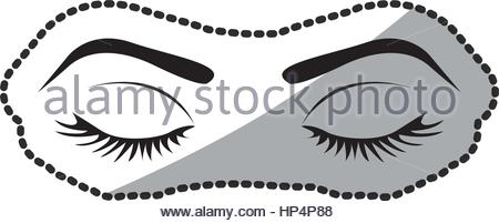 450x201 Sticker Silhouette Woman Eye Closed Stock Vector Art