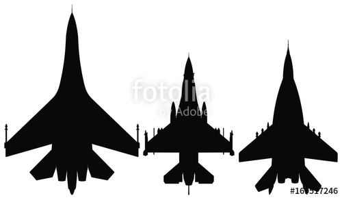 500x289 Vector Silhouette Of The Detailed Fighter Jet F 16. Stock Image