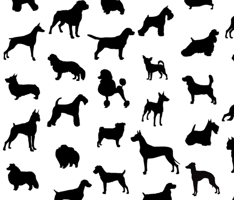 470x403 Mod Dog Silhouettes Black On White Large Scale Fabric By Lunaarts