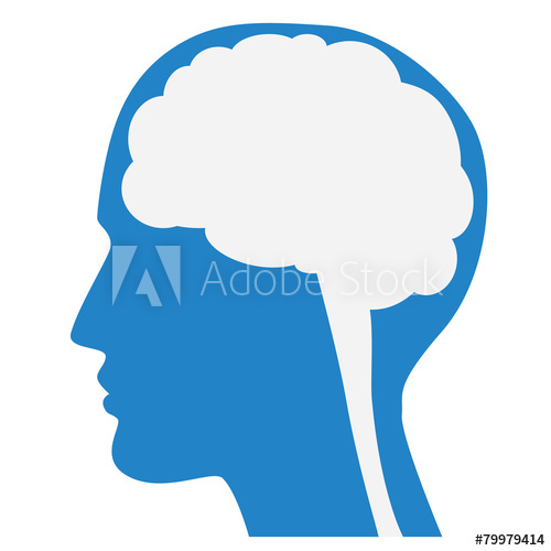 500x500 Human Brain Silhouette With Blue Face Profile.
