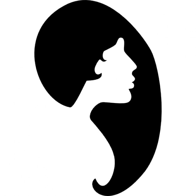 626x626 Female Hair Shape And Face Silhouette Icons Free Download