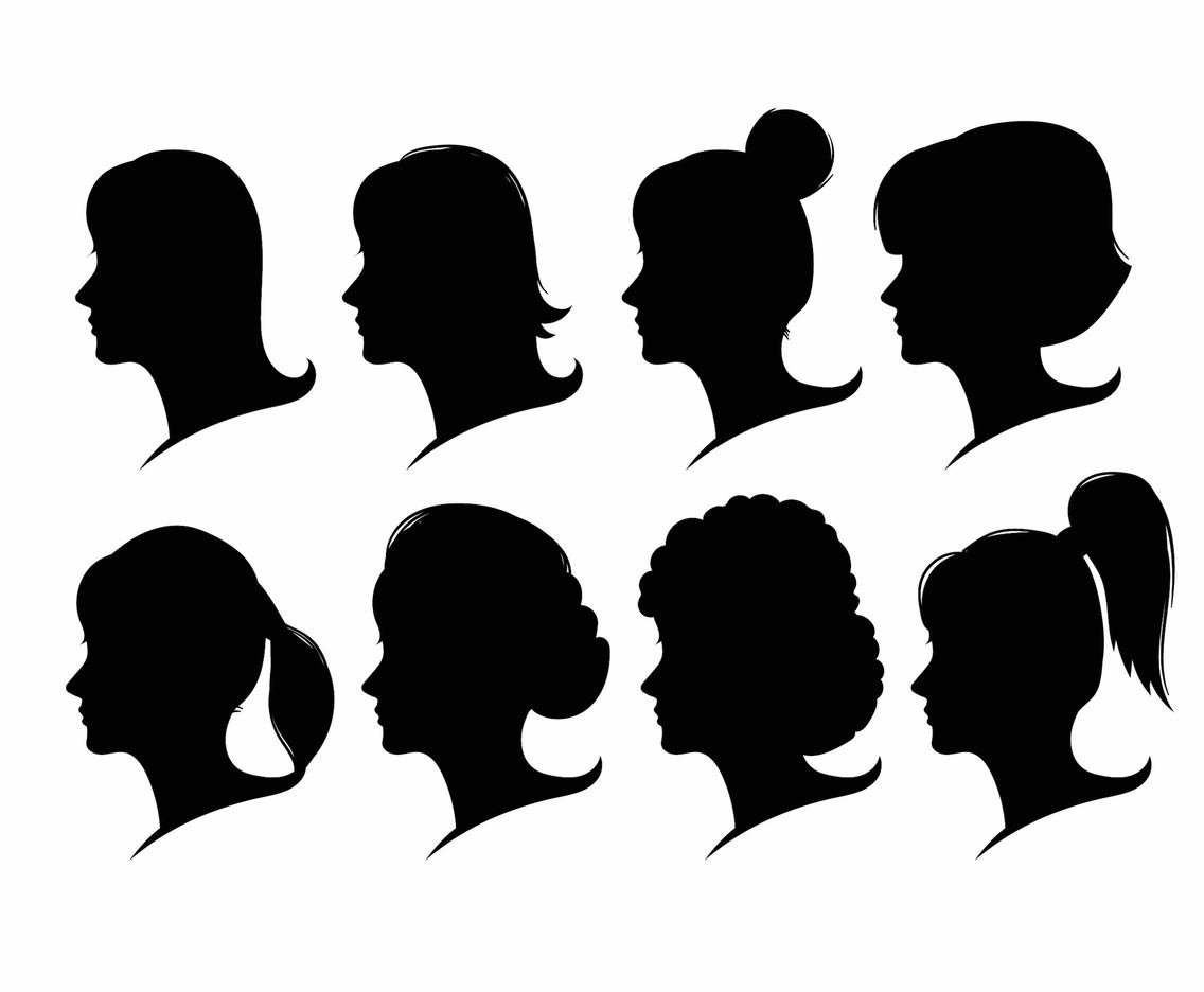 1136x936 Woman Face Silhouette Set Vector Art Amp Graphics