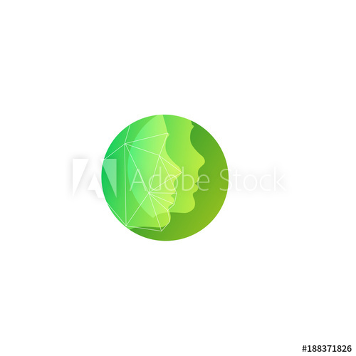 500x500 Green Silhouette Two Face Vector Round Logo Template For Natural