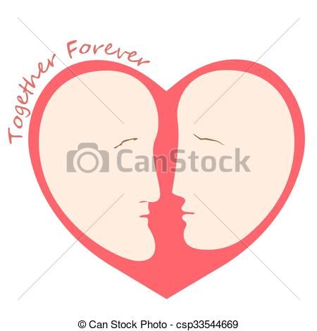 450x470 Romantic Female And Male Silhouette A Head In The Form