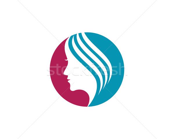 600x480 Beauty Women Face Silhouette Character Logo Template Vector