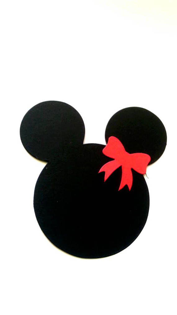 570x1013 Minnie Mouse Face Silhouette Paper Die Cuts. Cards Making Supplies