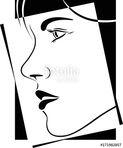 414x500 Face Profile View. Elegant Silhouette Outline. Black And White