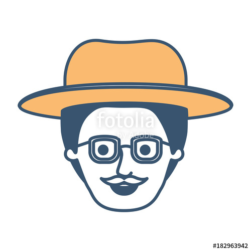 500x500 Male Face With Hat And Glasses With Short Hair And Moustache