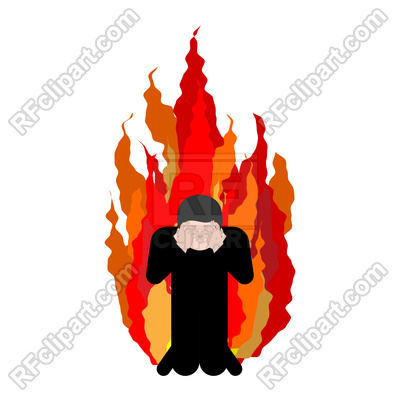 400x400 Sinner On Fire Face With Hands Royalty Free Vector Clip Art