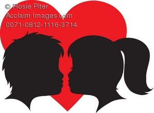 300x221 Free Clipart Illustration Of A Silhouette Of Two Faces About To Kiss