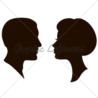 325x325 Man And Woman Face Profile Silhouette, Vector M Gl Stock Images