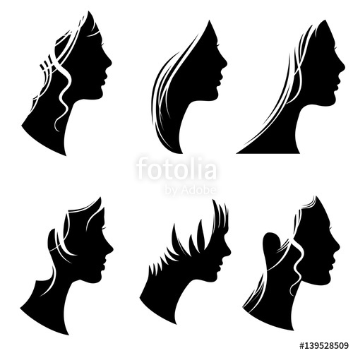 500x500 Beautiful Woman Portraits, Fashion Female Faces, Vector Silhouette