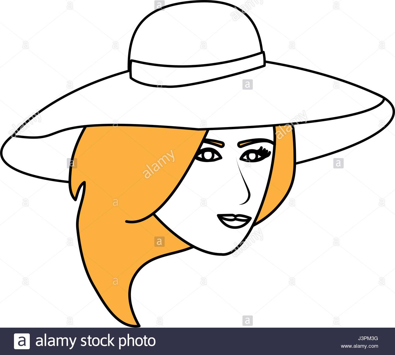 1300x1168 Color Silhouette Image Cartoon Front Face Woman With Beach Hat