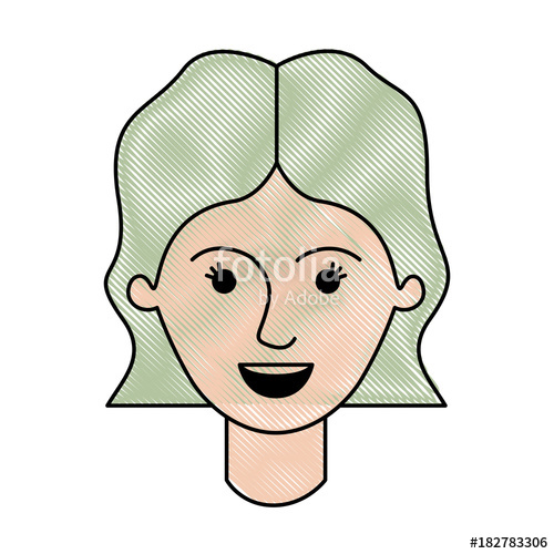 500x500 Female Face With Short Wavy Hair In Colored Crayon Silhouette