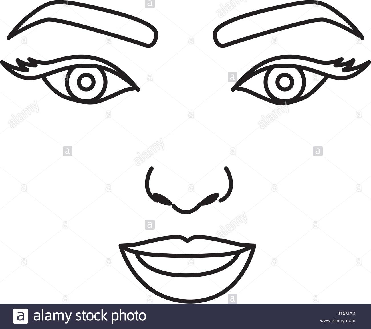 1300x1154 Silhouette Drawing Of Woman Face With Open Eyes And Smiling Stock