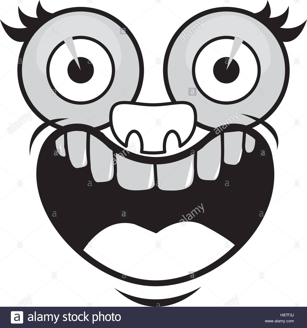 1300x1388 Silhouette Of Cartoon Face With Happy Expression Over White Stock