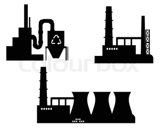 319x254 Industry Icon Recycling Plant Silhouette In Black On White