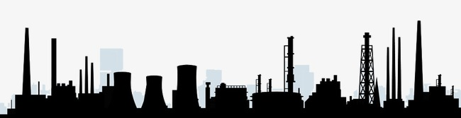 650x167 Silhouette Of Factory Chimneys, Factory, Refinery, Chimney Png