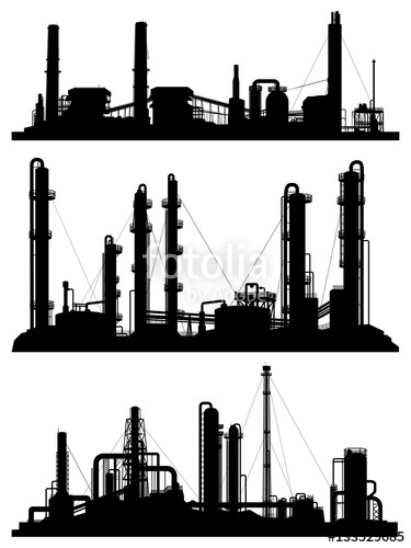 375x500 Silhouettes Of Units For Industrial Zone. Stock Image And Royalty