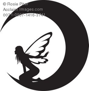 293x300 Clip Art Illustration Of The Silhouette Of A Fairy On The Moon
