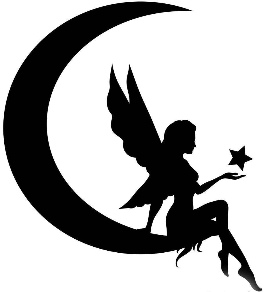 Fairy On Moon Silhouette
