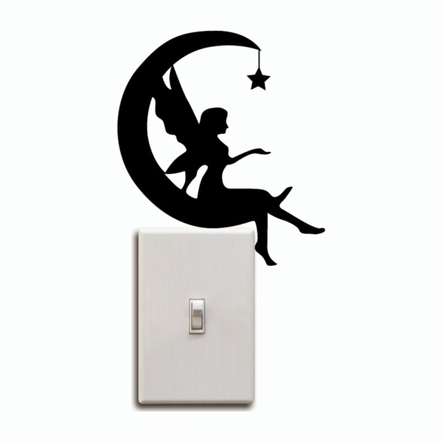 640x640 Kg 244 Moon Fairy Switch Sticker Crescent Moon Silhouette Wall