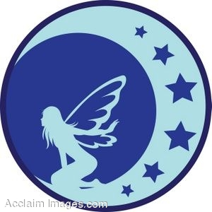 300x300 Clip Art Of A Blue Silhouette Of A Fairy On The Moon