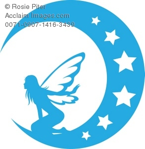 293x300 Art Illustration Of A Blue Silhouette Of A Fairy On The Moon