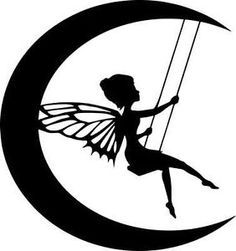 236x251 Die Cut Silhouette Moon Fairy On Swing Topper X 6 For Cardmaking