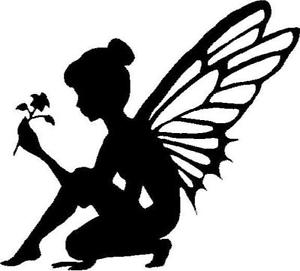 300x271 Fairy Silhouette With Flower Vinyl Decalsticker Car Truck Window