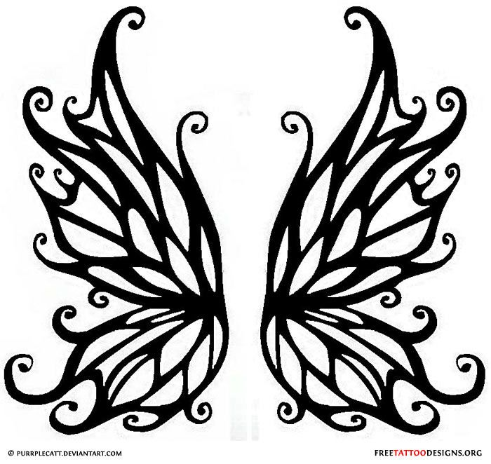 700x662 Black Outline Fairy Wings Tattoo Stencil