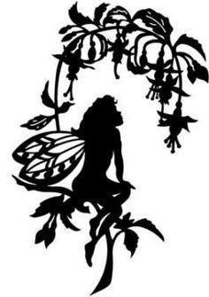 236x335 Die Cut Silhouette Fairy On Mushroom A Medium X 8. Cardmaking