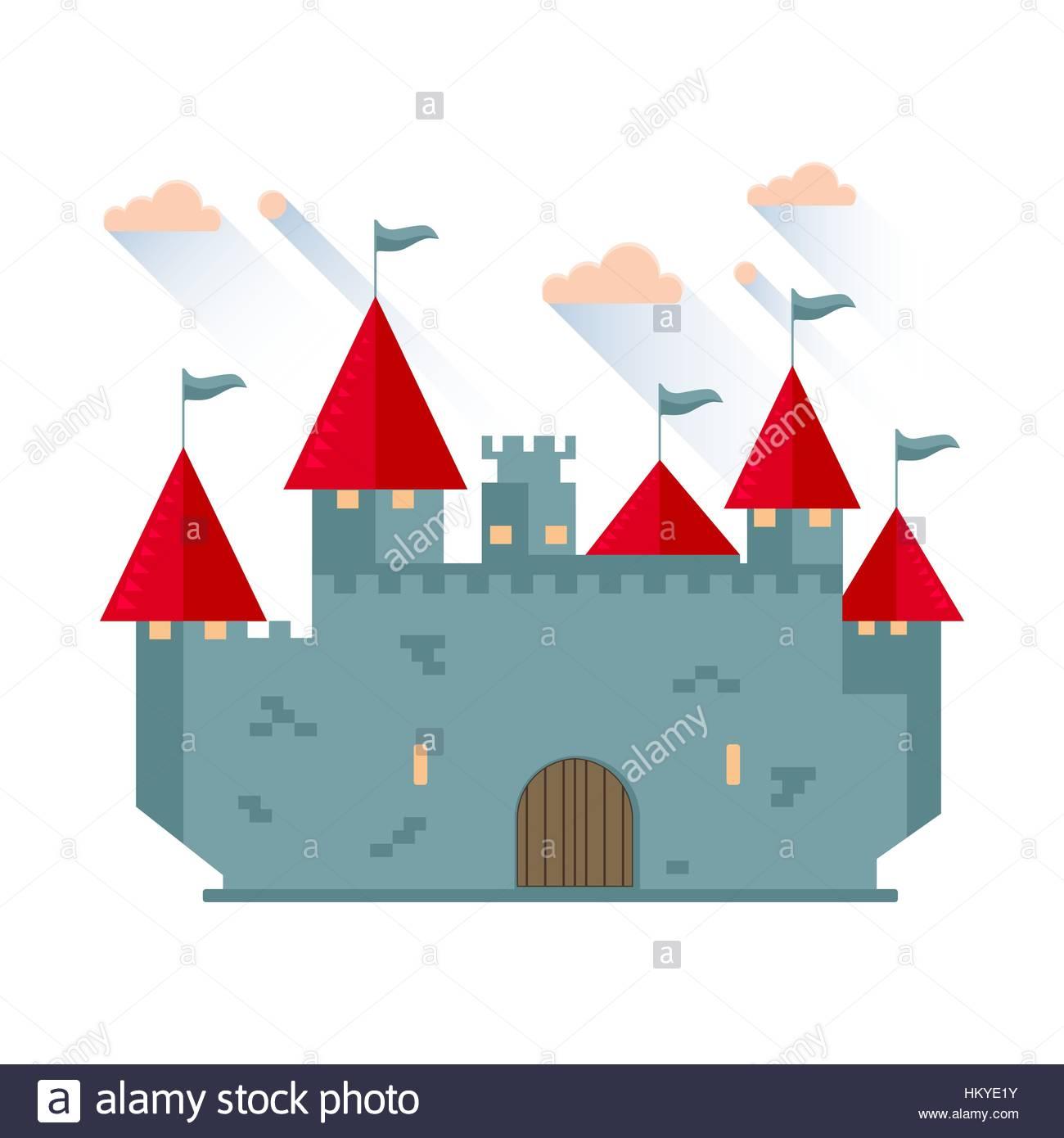 1300x1390 Cartoon Fairy Tale Castle Tower Icon. Vector Illustration Stock