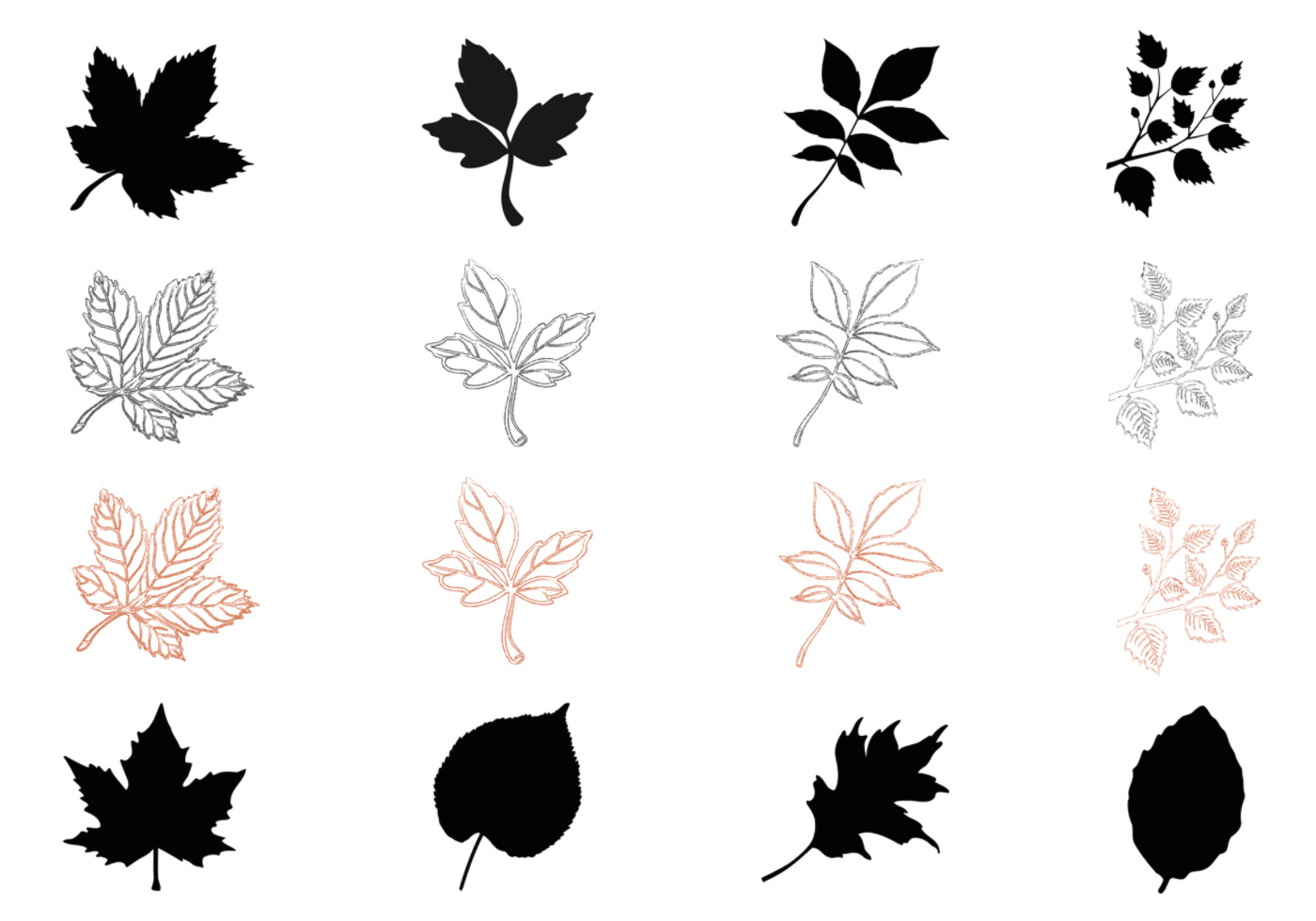 1400x980 Silhouette Fall Leaves Vector Pack