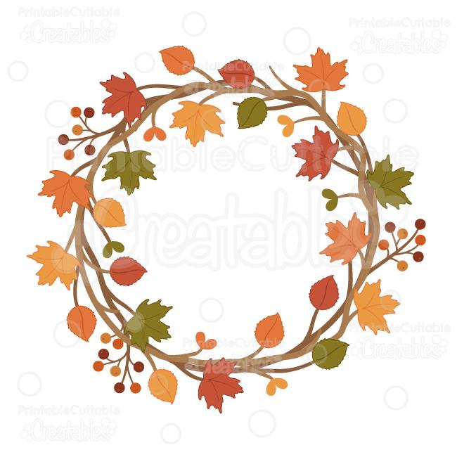 650x650 Autumn Wreath Svg Cuttable Clipart Cut File For Silhouette, Cricut